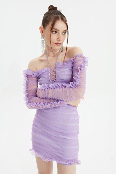Lila Drapeli Tül Elbise TPRSS20EL0800
