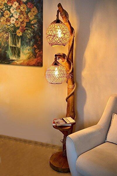 Kahverengi Doğal Ağaç Yalıkavak Serisi Çift Küre Aydınlatma Lambader 140cm