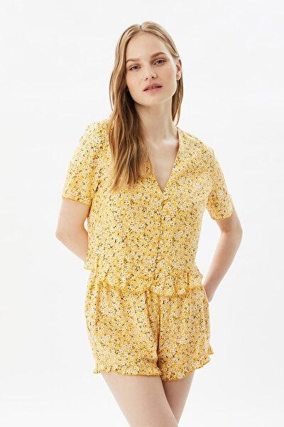 Sarı Çiçek Desenli Dokuma Pijama Takımı THMSS21PT0664