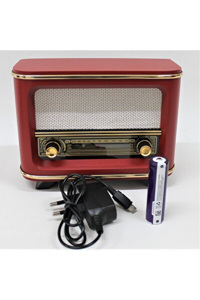Nostaljik Radyo Kırmızı Istanbul Model Şarjlı Pil+adaptörlü