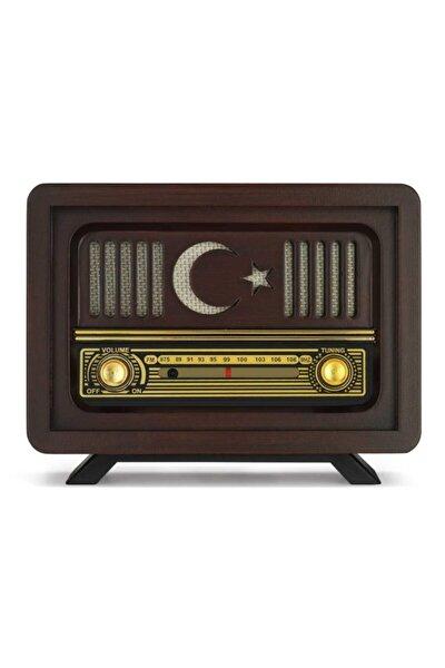 Ahşap Nostaljik Radyo Ay Yıldız Model Şajlı Pil+adaptörlü