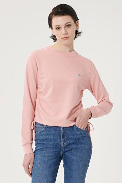 Kadın Pembe Regular Fit %100 Pamuk Sıfır Yaka Sweatshirt