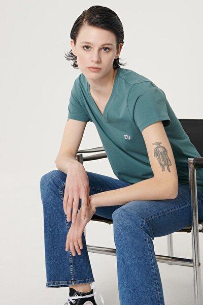Kadın Sıcak Gri Kısa Kollu %100 Pamuk Logolu Sıfır Yaka Tişört