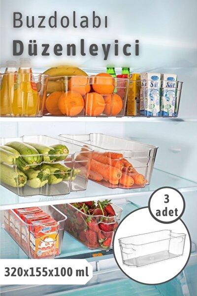 3 Adet Clear Buzdolabı & Dolap Içi Düzenleyici Organizer Orta