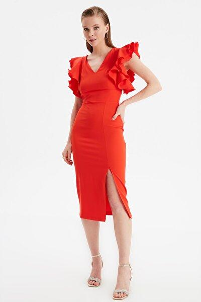 Nar Çiçeği Fırfır Detaylı  Elbise TPRSS20EL2661