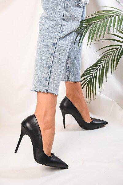 Kadin Siyah Cilt Klasik Topuklu Stiletto