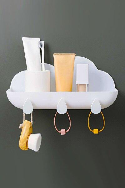 Bulut Model Düzenleyici 2'li Organizer Sepet Yapışkanlı Dekoratif Anahtar Aksesuar Duvar Askısı