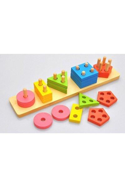 Ahşap Eğitici 5'li Geometrik Şekil Yerleştirme Bultak Oyunu