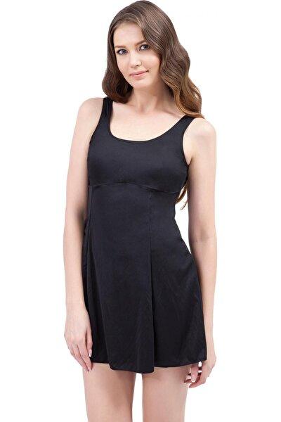 Kadın Siyah Düz Elbiseli Mayo