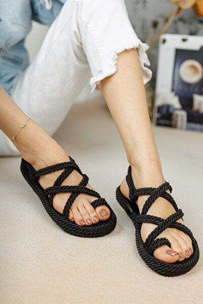 Halat Sandalet Siyah