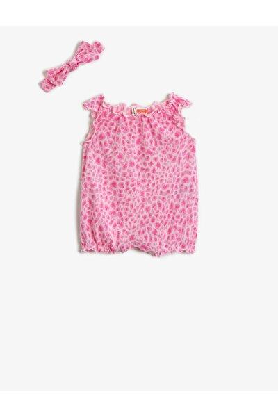 Kız Bebek Pembe Desenli Tulum Çitçitli Pamuklu Saç Aksesuarli