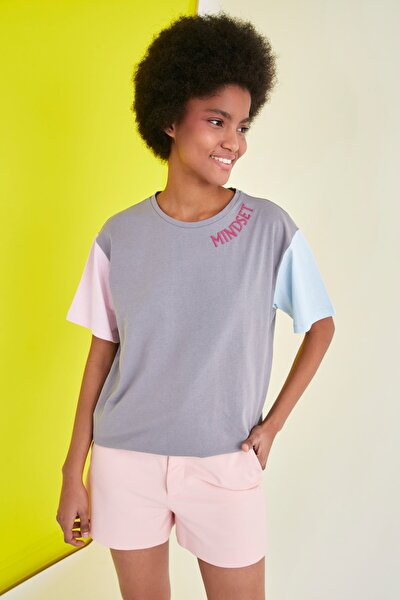 Gri Nakışlı Boyfriend Örme T-Shirt TWOSS21TS0141