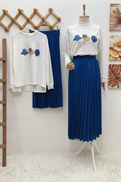Kadın  Etek Bluz Takım - Mavi
