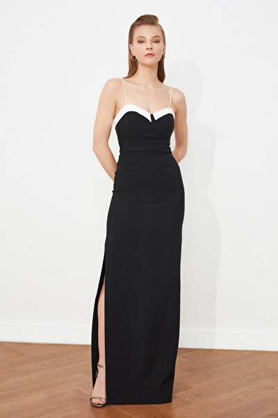 Siyah Yaka Detaylı Abiye & Mezuniyet Elbisesi TPRSS21AE0064