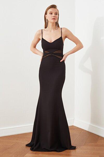 Siyah Dantel Detaylı Abiye & Mezuniyet Elbisesi TPRSS21AE0123