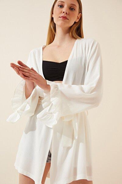 Kadın Beyaz Fırfırlı Krinkıl Viskon Plaj Kimonosu DD00899