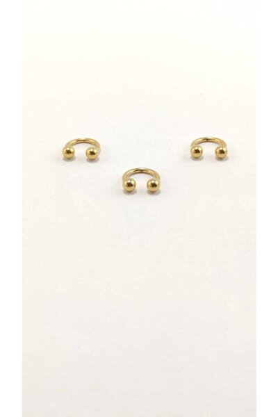 316l Cerrahi Çelik Üçlü Set 6mm Top Uçlu Gold Renk Septum Piercing