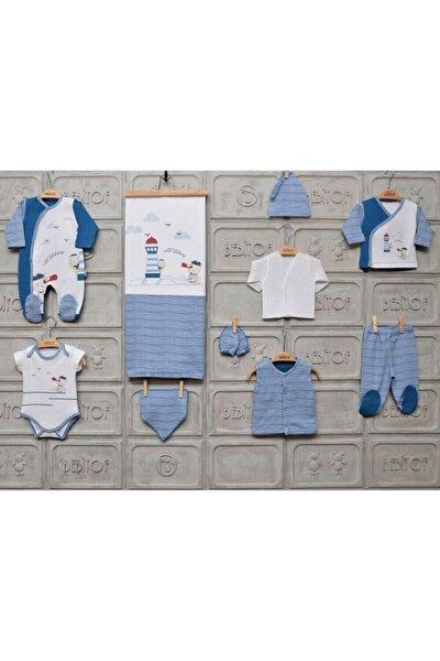 Erkek Bebek Beyaz Lacivert 10'lu Hastane Çıkış Seti