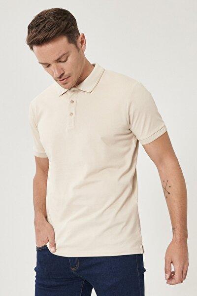 Erkek A.BEJ-BEYAZ Düğmeli Polo Yaka Cepsiz Slim Fit Dar Kesim Düz Tişört