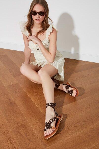 Siyah Hakiki Deri Kadın Sandalet TAKSS21SD0030