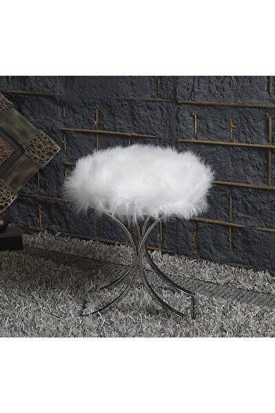 Beyaz Krom Kromaj Metal Ayak Peluş Puf
