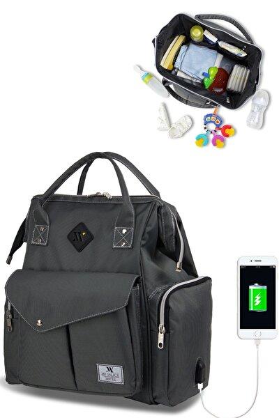 Gri Smart Bag Happy Mom Usb'li Anne Bebek Bakım ve Sırt Çantası Gri