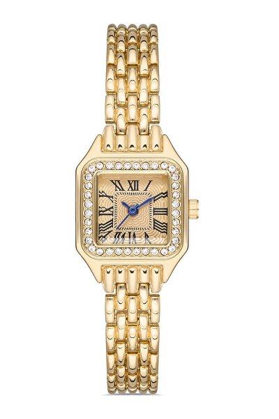 Kadın Altın Vintage Kare Mini Kol Saati
