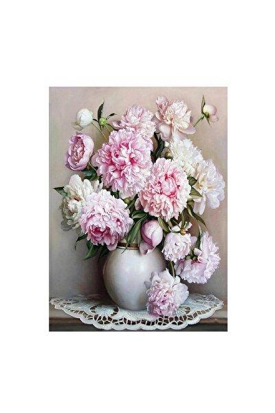Beyaz Vazo Ve Çiçekler Sayılarla Boyama Seti 40x50 Cm Rulo