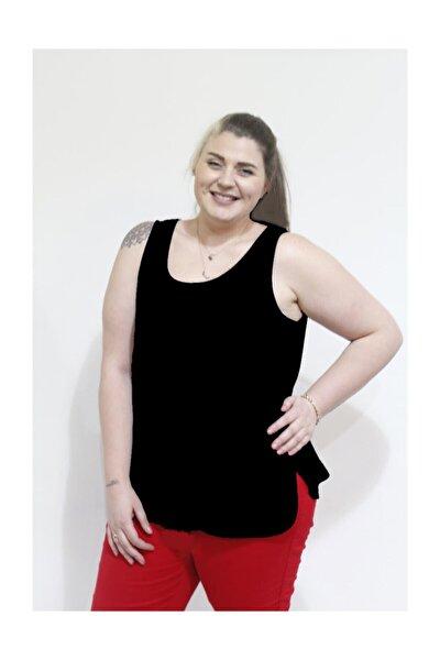 Kadın Büyük Beden Askılı Siyah T-shirt