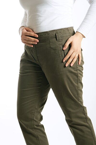 Kadın Zımbalı Renkli Pamuklu Kanvas Pantolon