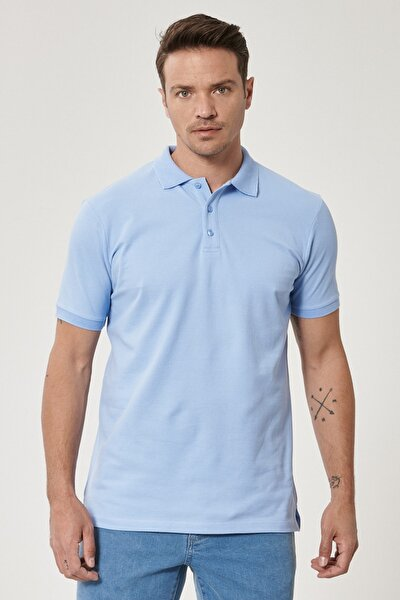 Erkek Açık Mavi Polo Yaka Cepsiz Slim Fit Dar Kesim %100 Koton Düz Tişört