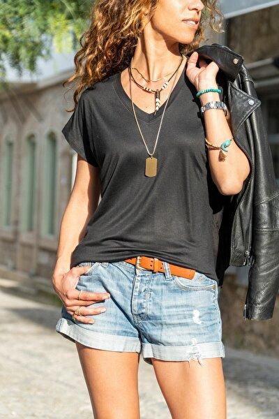Kadın Siyah V-yaka Yarasa Kol Basic T-shirt Gk-jr211