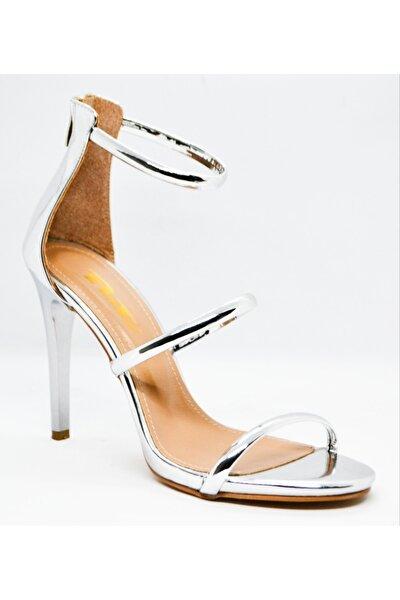 Kadın Tek Bant Gümüş Ayna Topuklu Ayakkabı