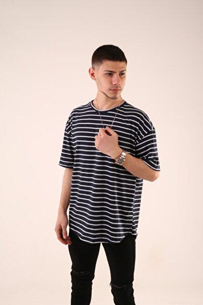 Unisex Lacivert Çizgili Oversize T-Shirt