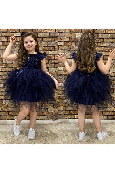 Kız Çocuk Lacivert Simli Elbise