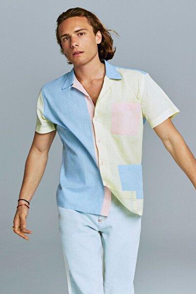 Mavi Regular Fit Apaş Yaka Panelli Kısa Kollu Gömlek TMNSS21GO0155