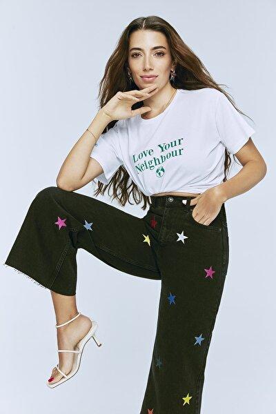Siyah Yıldızlı Nakış İşlemeli Yüksek Bel Culotte Jeans TWOSS21JE0450