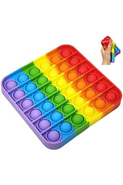 Pop It Push Bubble Fidget Popit Gökkuşağı Renkli Duyusal Stres Oyuncağı (kare)