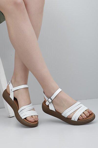Hakiki Deri Beyaz Kadın Sandalet 35815