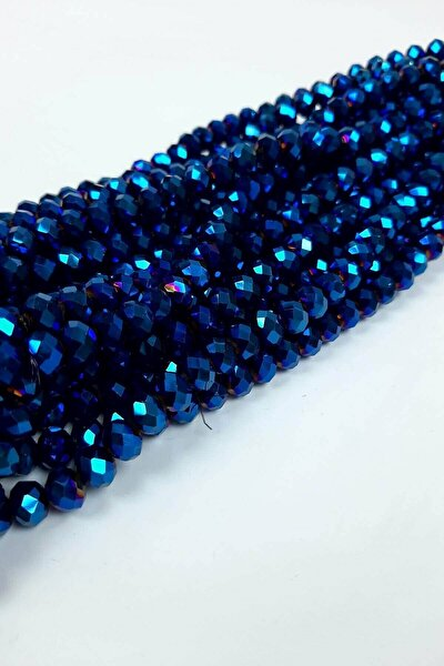 Saks Mavi Kaplama Kristal Boncuk 8 Mm