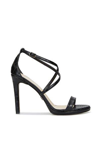 Kadın Siyah Krokodil Dokulu Sandalet