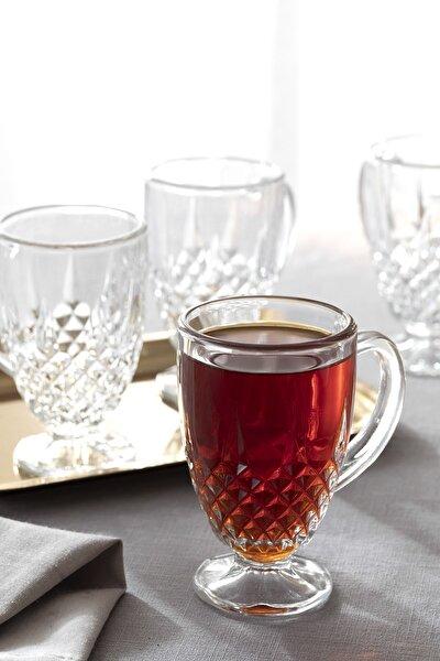Beyaz Cam Kulplu Çay Bardağı 150 ml  4 Adet