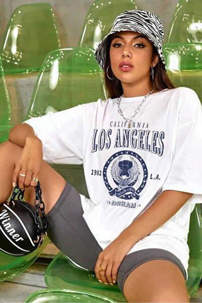 Kadın Beyaz Oversize Los Angeles Baskılı T-Shirt
