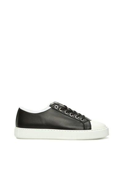 Siyah Beyaz Deri Kadın Sneaker