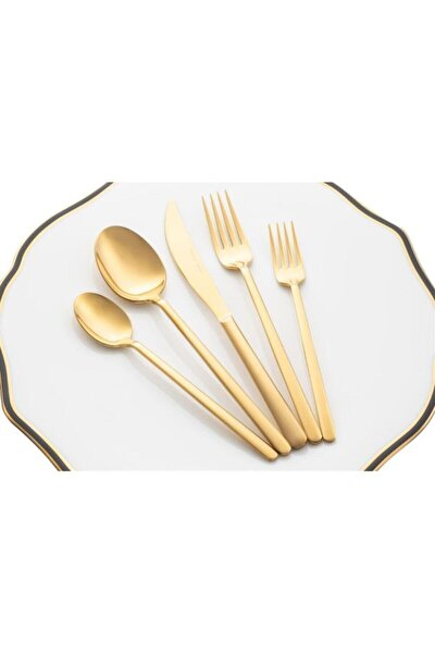 Parlak Altın Pluma Gold 30 Parça Çatal Kaşık Bıçak Takımı Seti