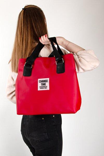 Patlı Kadın Shopper Omuz Çantası Gl-013 Kırmızı