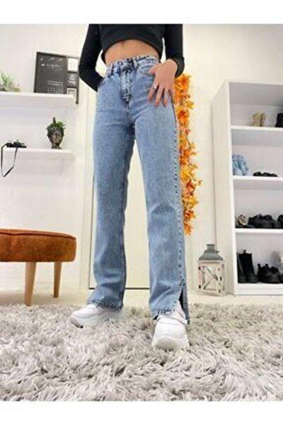 Kadın  Mavi Açık Kar Yıkama Paça Yan Yırtmaçlı Mom Jeans