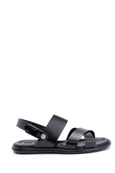 Erkek Siyah Deri Sandalet