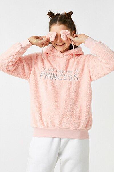 Kadın Pembe Kapüşonlu Peluş İşlemeli Pijama Üstü