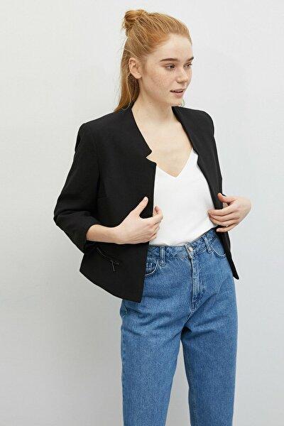 Kadın Siyah Cepte Fermuar Detaylı Blazer Ceket